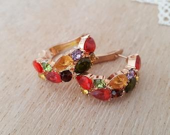 Luxury Trendy Rose Gold Color Earrings, Colorful Zircon Crystal Earrings