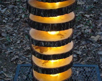 Natural wood handmade, LED slice lamp. Tree log, Lighting, efficient, sustainable, custom lighting, Made in the USA.