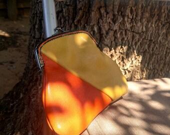 Handmade Gold & Orange Leather Kiss Lock Coin Purse