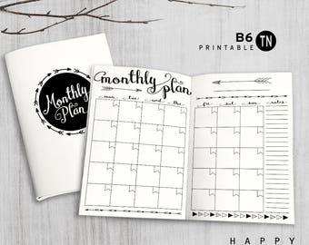 Printable B6 Insert - B6 Traveler's Notebook Insert - B6 monthly insert, Monthly Traveler's Notebook Insert - Arrow