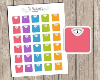 Scale Stickers, Weight Stickers, Planner Stickers, for use with Erin Condren, Happy Planner Stickers, Weight Loss Stickers, scales, eclp
