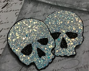 Iridescent White And Black Skull Hair Clip / Hair Fascinators / Festival Acsessorie / Hair Acsessorie / Berlesque / Goth / Clubbing