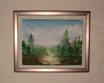 "Original Watercolor Landscape, 9x12"""