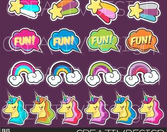 Unicorn, Rainbow, tags, cards, invitations, stars