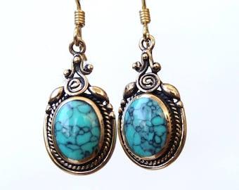 Bronze Earrings, Stone Earrings, Turquoise Earrings, Dangle Earrings, Ethnic Earrings, Tribal Earrings, Drop Eaarings, Spiral Earrings