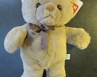 """vintage NWT Dakin Fun Farm TEDDY BEAR 15""""H mocha peach w/ orig neck ribbon New With Orig Tag 1983 stuffed toy Bo Bear #32-1610 never used"""