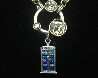 Epoxy gears elegant Tardis necklace with handmade chain