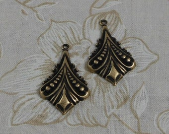 LuxeOrnaments Oxidized Brass Filigree Diamond Pendant (Qty 2) 30x20mm S-8449-B