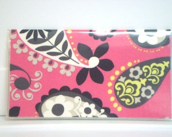 Checkbook Cover , Checkbook Holder Cash Holder - Pink Paisley /  Ready to Ship