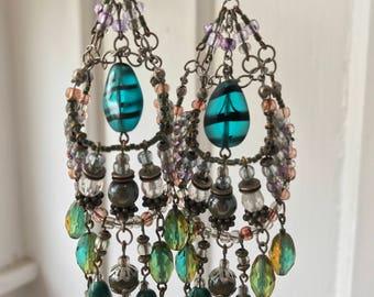 Glass Bead Custom Chandelier Earrings