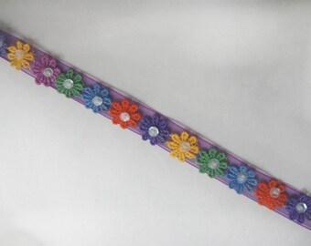 Beaded Ribbon, Colourful Flowers, Flowered Ribbon, Purple Ribbon, Flowers (16-097)