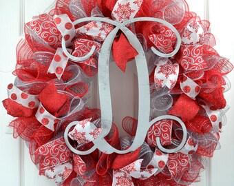Holiday wreath - Holiday decor - Christmas mesh wreath - Mesh Christmas Wreath - Monogram Christmas Wreath - Christmas Wreath for Front Door