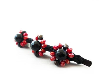 Agate Crystal Flowers Bobby Hair Pin, Hairpin, Natural Stones Hair Pin, Faceted Black Agate Hair Pin, Red Black Hair Pin, Hair Accessory