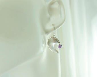 Amethyst Comma Earrings