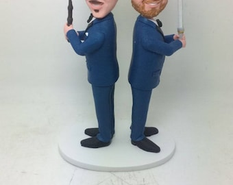 Gay Male Wedding Cake Topper Personalized Gay Wedding Cake Topper Figurine Gay Cake Topper Gay Male Wedding Gifts Gay Male Bobble Head