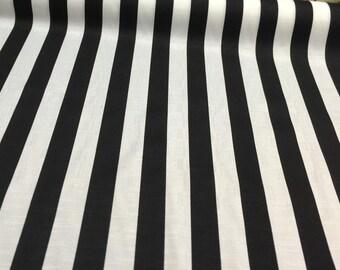 Solarium Outdoor Cabana Stripe Black White Fabric By The Yard