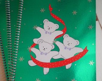 Vintage Kawaii Sanrio White Santa Bear Christmas Spiral Notepad - Retro Holiday Bears Snowflake Notebook Paper Hello Kitty Pals Animal Gift