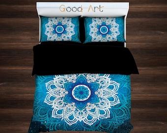 Mandala Bedding, Bohemian Bedding, Boho Duvet Cover, Hippie Bedding, Ethno Bedding Set,Mandala Duvet Cover,Indie Bedding,Teal Bedding