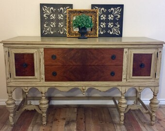 SOLD ** Hand Painted | Vintage Jacobean Buffet | Sideboard | Server | Entry | Dresser | Bar |