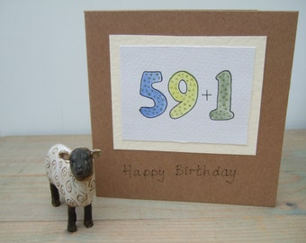 60 Birthday Card - Hand Painted Card - 60th Happy Birthday Card - Quirky Card - Recycled