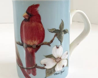 Inhesion Giftware Garden Birds by Maria Ryan Cardinal Birds Porcelain Mug
