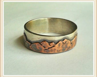 Mountain Range Wedding Band - Sterling and Copper-Custom made - Single Band - Rustic - Nature Lover - Comfort fit - 8 or 9 mm wide