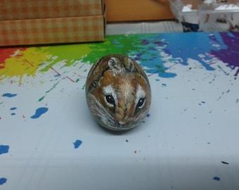 Rock painting Golden Bunny