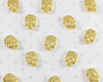Small Skull Embellishments   Gold Skull Metal Cabochon for Nail Art & Crafts - 10pcs