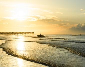 Paddleboarding at Dawn - beach photograph - ocean sea art photography surf