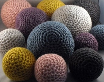 Crochet Balls Plush Set of Twelve Your Color Choice Two Sizes Made to Order As Seen in FlinkLiving Big Dreams for Little People