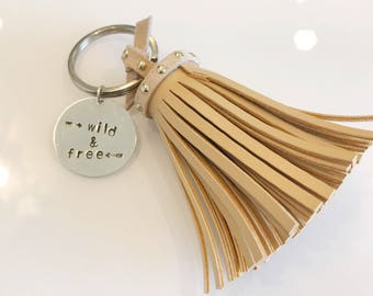 wild and free leather tassel key chain hand stamped key chain gifts for her christmas mantra positivity wanderlust hippie heart gypsy soul