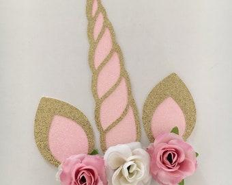 Unicorn Flower Cake Topper
