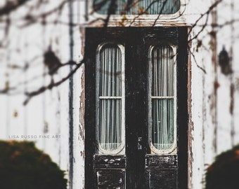 Rustic Home Decor | Vertical Print | Black Door | Old Black Door Print | Rustic Black Door Large Print or Canvas | Entryway Art.