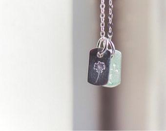 Dandelion Dog-Tags Necklace - Sterling Silver - Stamped Dandelion , Dandelion Jewellery ,  Dandelion Wish