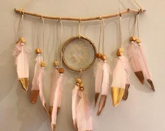 Rose Gold custom driftwood dream catcher wall hanging
