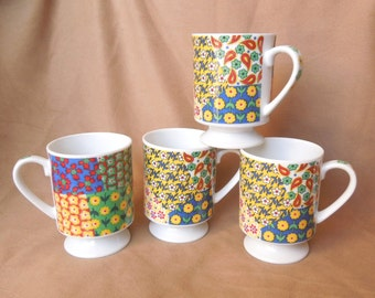 Vintage 70's Coffee Cups, Floral Ceramic Mugs, Green, Blue, Red, Yellow and White, Set of Four, For Coffee or Tea, Boho Hippie Style