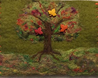 Needle felted autumn tree clutch
