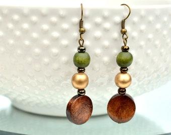 olive green earrings / wood bead earrings / dangle earrings / lightweight green earrings / green brown gold / boho earrings / army green