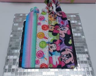 Minnie mouse hair ties, hair ties, lollipop, Minnie mouse bracelets, elastic hair ties,