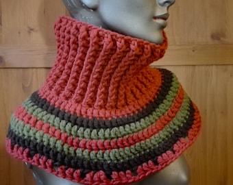 crochet neck warmer, cowl neck warmer, chunky crochet scarf, winter boho crochet scarf
