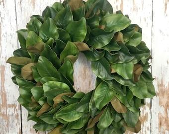Magnolia Leaf Wreath, Faux Magnolia Wreaths For Front Door, Farmhouse Wreath, Fixer Upper Wreath, Spring Magnolia Wreath, Year Round Wreath