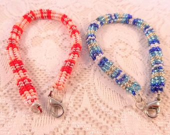 Jewelry Set Women Bracelets for Her Beadwork Jewelry Bracelet Set Red and Bleu Handmade Jewelry Gift for Girlfriend Beaded Bracelets for Her