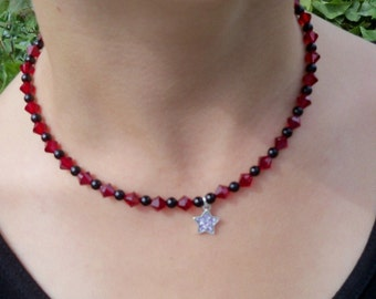 Girls Red and Black Necklace, Star Pendant, Flower Girl Necklace,  Holiday Jewelry, Toddler, Pageant Jewelry, Kids Jewelry,Black and Red,