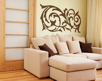 Ornamental Swirl Vinyl Decal size SMALL - Office Decor, Home Decor, Bedroom Decal, Artistic Flair,