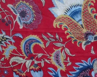 fabric, cotton printed red and multicolored, large PAISLEY collection.