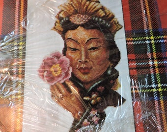 Manchurain Asian Woman Jean McIntosh Needlework Kit # 202 Portrait Needlepoint Kit