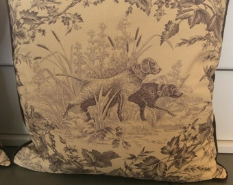 Brunschwig and fils Hunting Toile in tobacco and cream-pillow covers