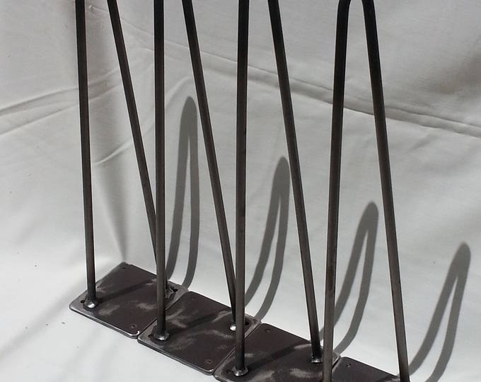 "2 Rod Hairpin Legs 12-28"" high Set of Four Steel Legs Metal Legs Hairpins"