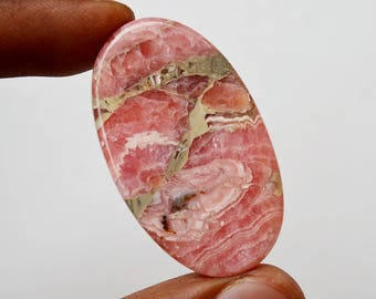 77 Cts Natural Top Quality Pink Rhodochrosite Gemstone Loose Cabochon Oval Shape 41x24x6 MM R10389