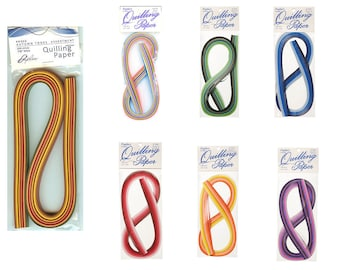 1/8 inch Quilling Strips Multicolor 100 strips per Package - 7 Color Combinations to choose from PAP54-00 fnt